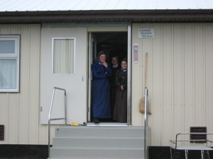 Hutterites on porch