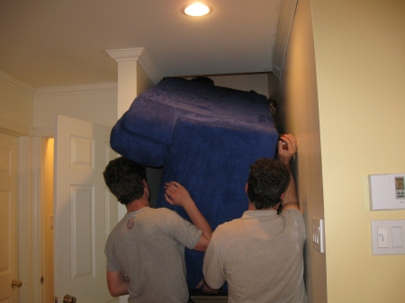 The landlord wanted some of her furniture moved up a few floors.